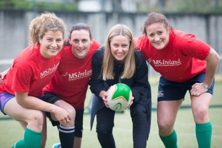 No Repro Fee 6-5-2015 ***Multiple Sclerosis community shouts out 'Together we're stronger than MS' to announce World MS Day 2015 World MS Day Wednesday May 27th 2015** Picture shows from left Irish Rugby stars Jenny Murphy; Hannah Tyrrell ;Ava Battles, Chief Executive, MS Ireland; and  Ailis Egan; marking the announcement by Multiple Sclerosis Ireland that World MS Day 2015, which will take place Wednesday May 27th under the banner 'Together we're stronger than MS'. Ireland's women's rugby stars Ailis Egan, Hannah Tyrrell and Jenny Murphy have pledged their support to World MS Day, with the team players championing the #strongerthanMS campaign. MS Ireland, the national organisation providing vital services, information and support to the MS community is urging people to please text STRONG to 50300 and donate 4 euro or visit www.strongerthanMS.ie. Multiple sclerosis is the most common disabling neurological condition of young adults in Ireland, with more than 8,000 Irish people affected. MS is most commonly diagnosed between the ages of 20 and 40. There is currently no known cause or cure for the condition. Pic:Naoise Culhane-no fee