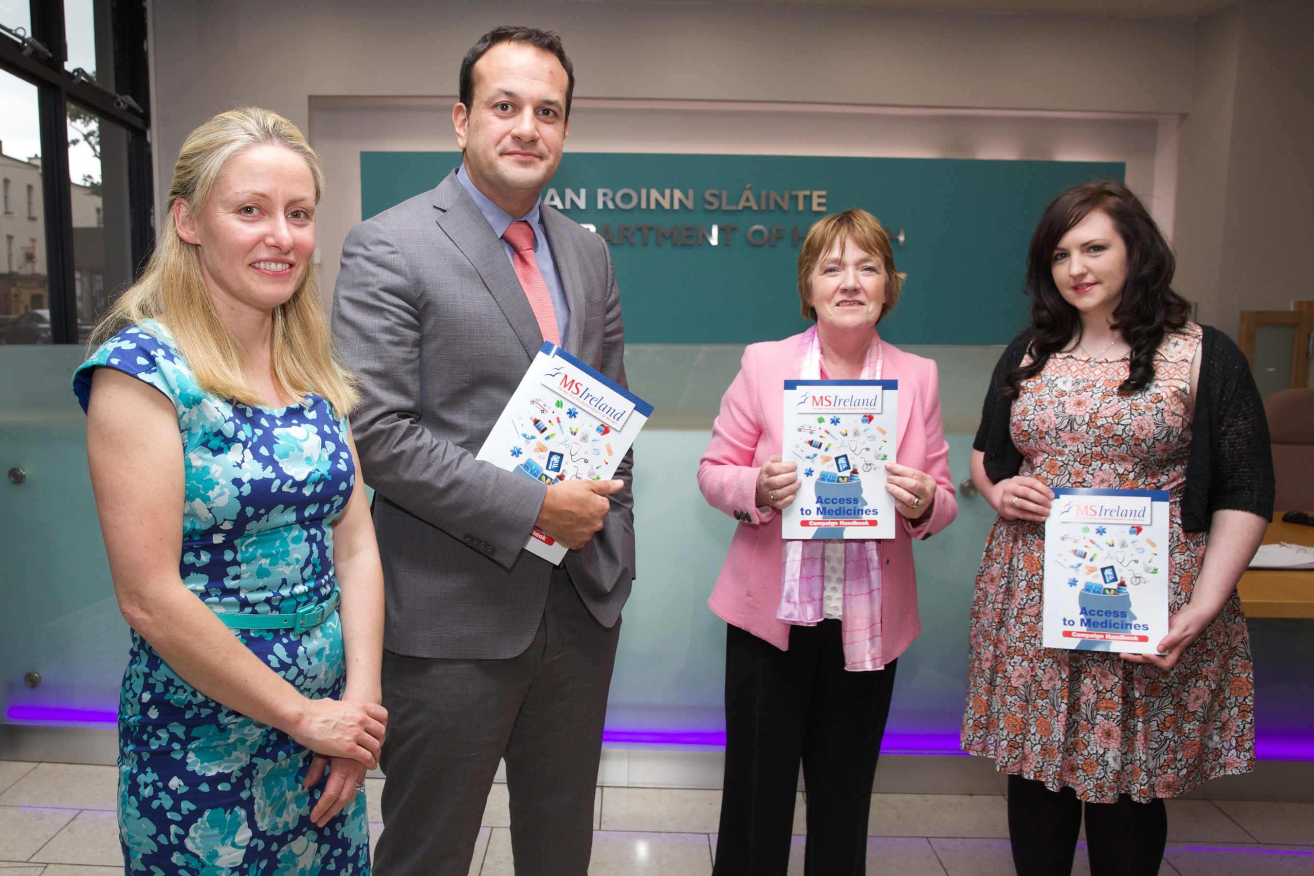 19/8/15. Photographed at the launch of the Access to Medicines campaign handbook for people with multiple sclerosis, are Ava Battles, Chief Executive, MS Ireland; Minister for Health Leo Varadkar; and people living with MS, Rosaleen Rafter and Aoife Kirwan. Photograph by Sean Brosnan