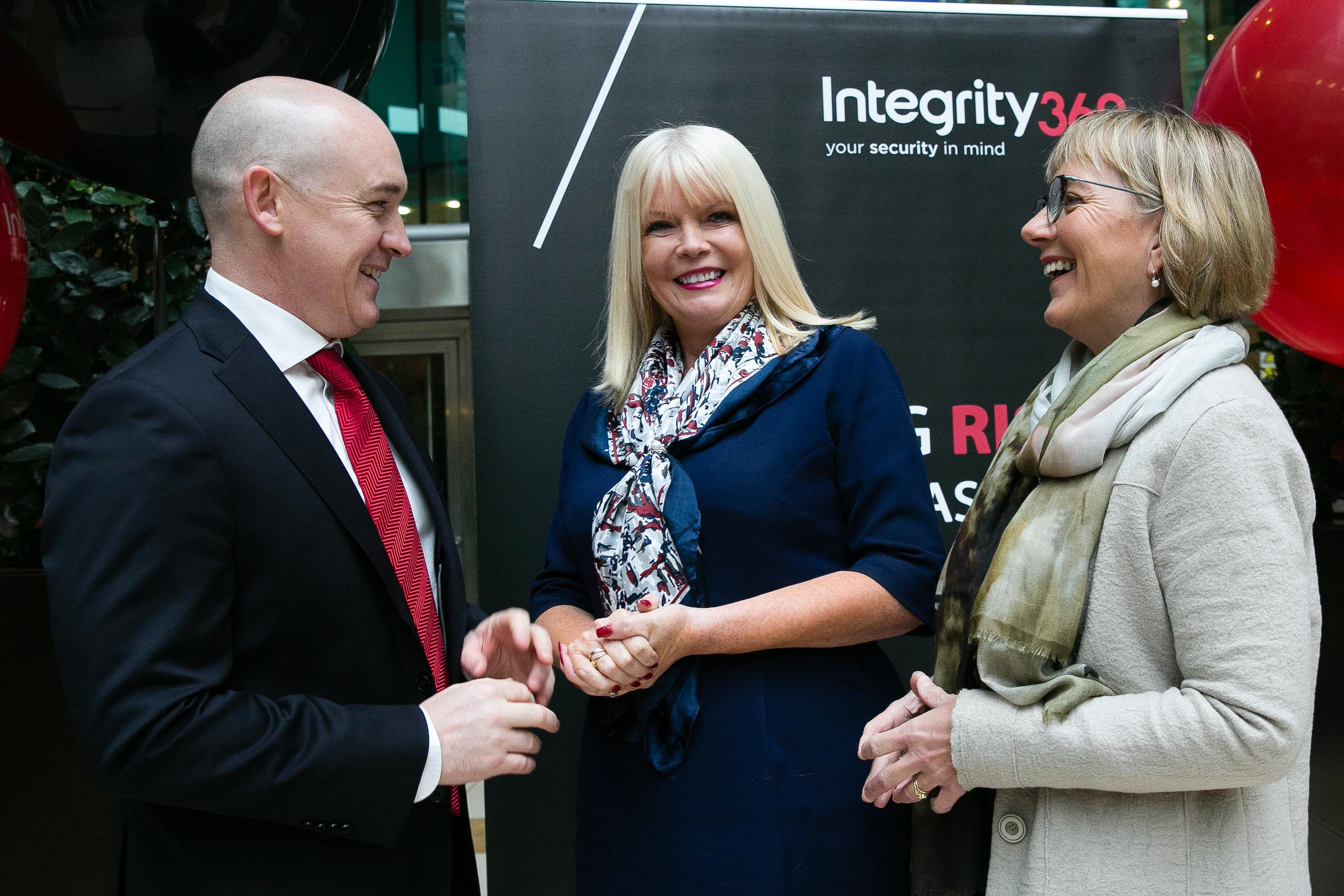 News 1/11/16 NO FEE FOR REPRO Pictured at the Irish Cyber Security firm Integrity360's annoucement of the creation of 150 new jobs at its HQ in Sandyford, Dublin was Eoin Goulding, CEO, Integrity360, Minister for Jobs, Enterprise and Innovation, Mary Mitchell O'Connor TD and Julie Sinnamon, CEO, Enterprise Ireland. Pic Orla Murray Recruitment for 50 new positions, with the support of Enterprise Ireland will be completed by the end of this year. In addition the company plans to hire a further 100 staff by the end of 2018 which will see the firm double in size. Development of Integrity360's managed security services is expected to propel growth over the next two years.